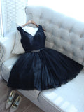 Black Homecoming Dress V-neck Short/Mini Prom Drsess Juniors Homecoming Dresses SKY035