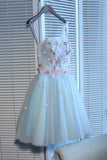 Light Sky Blue Homecoming Dress One Shoulder Short/Mini Prom Drsess Juniors Homecoming Dresses SKY036