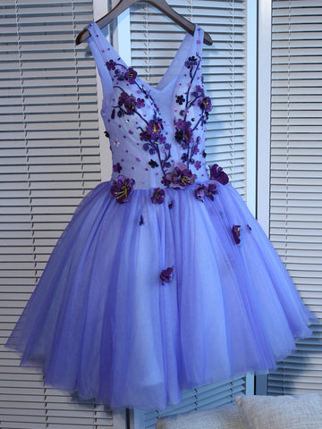 A-line Homecoming Dress V-neck Short/Mini Prom Drsess Juniors Homecoming Dresses SKY042