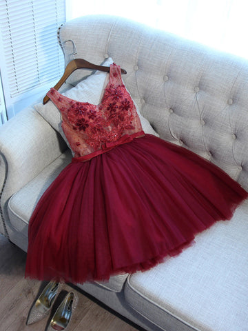 Charming A-line Homecoming Dress V-neck Short/Mini Prom Drsess Juniors Homecoming Dresses SKY050