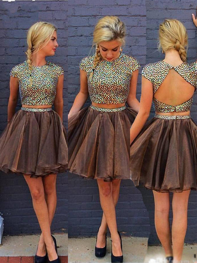 Two Pieces A-line Short Prom Dress Juniors Homecoming Dress SKY085