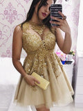 2017 A-line Short Prom Dress Scoop Juniors Homecoming Dress SKY087