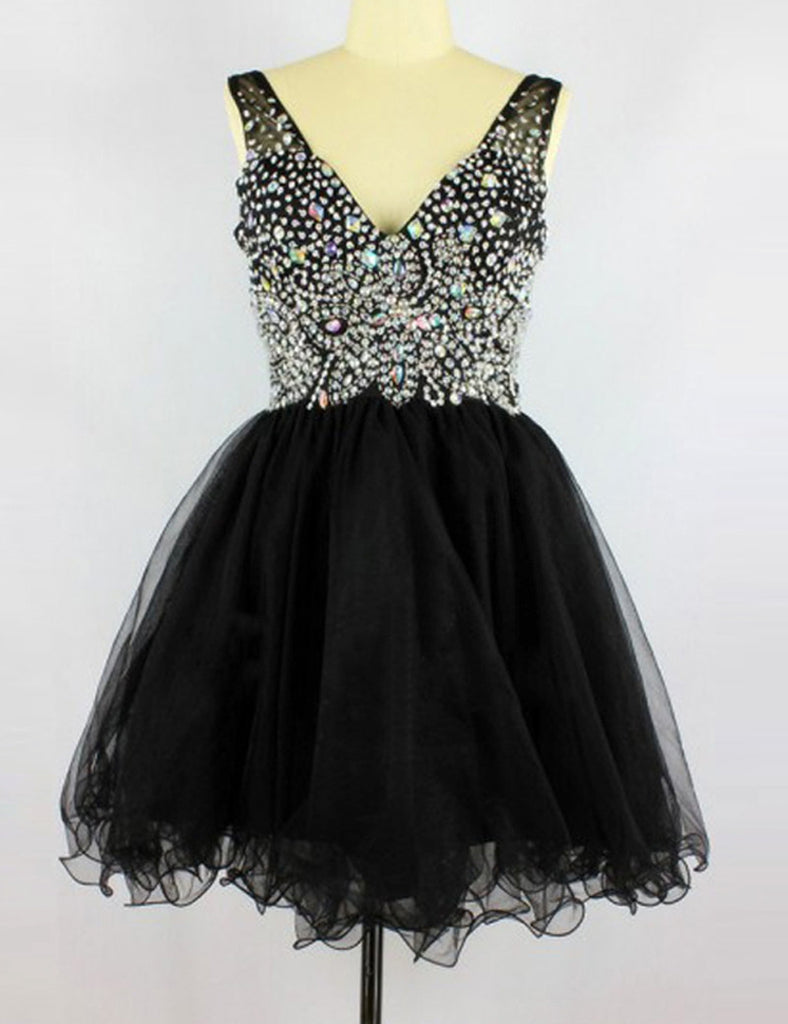 Black A-line Short Prom Dress Scoop Juniors Homecoming Dress SKY088