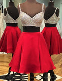 Two Pieces A-line Short Prom Dress Red Juniors Homecoming Dress SKY092