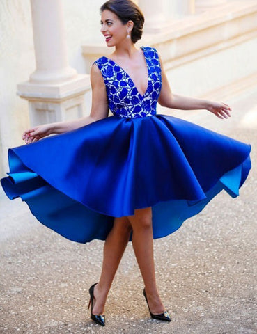 Royal Blue A-line Short Prom Dress Juniors Homecoming Dress SKY093
