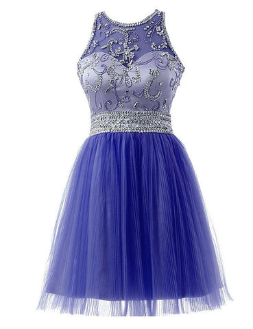 Charming A-line Scoop Short Prom Dress Juniors Homecoming Dress SKY096