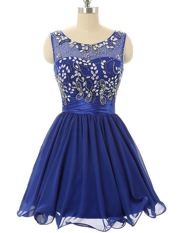 Charming A-line Scoop Short Prom Dress Juniors Homecoming Dress SKY097