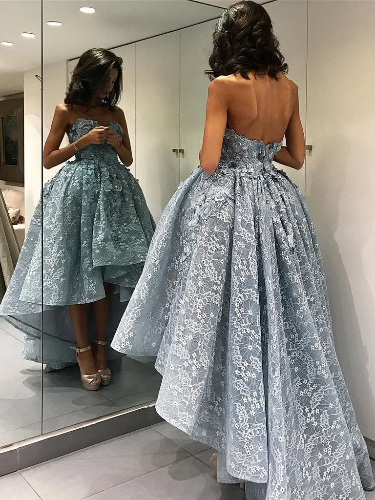 Asymmetrical Sweetheart Prom Dress 2018 High Low Lace Prom Dresses Evening Dress SKY102
