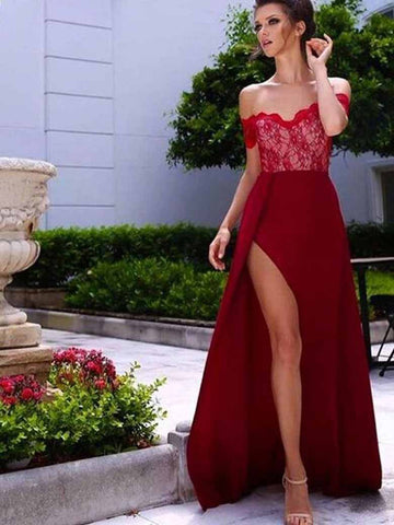 A-line Prom Dress Off-the-shoulder Lace Prom Dresses/Evening Dress SKY145