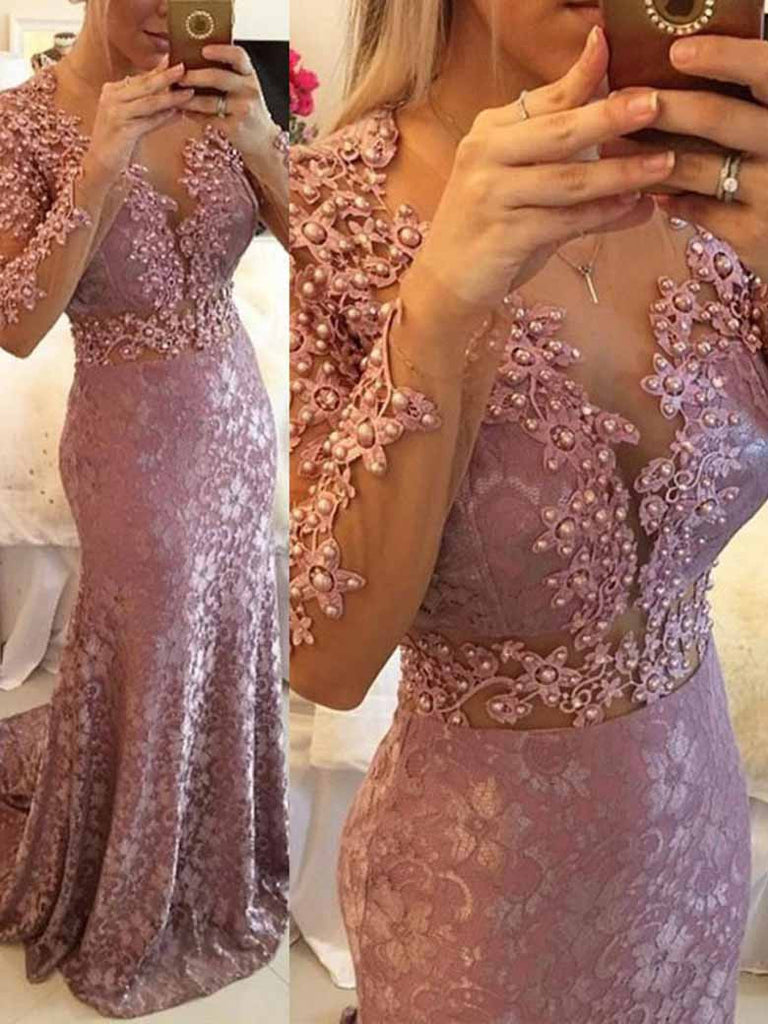Sheath/Column Prom Dress Scoop Lace Prom Dresses/Evening Dress SKY147