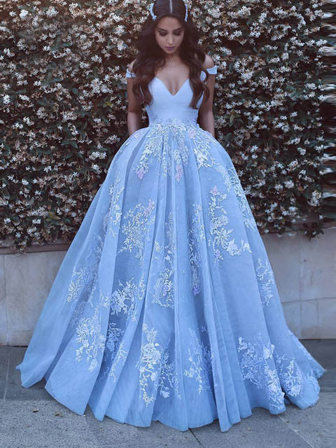 A-line Prom Dress Off-the-shoulder Prom Dresses/Evening Dress With Appliques SKY154