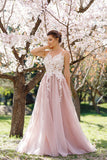 A-line Prom Dress Scoop Prom Dresses/Evening Dress With Appliques SKY157