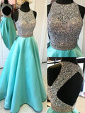 A-line Prom Dress Scoop Stain Long Prom Dresses/Evening Dress SKY165