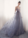 A-line Prom Dress V-neck Tulle Long Prom Dresses/Evening Dress SKY166
