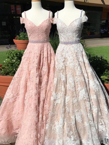 A-line Prom Dress Straps Tulle Long Prom Dresses/Evening Dress SKY169