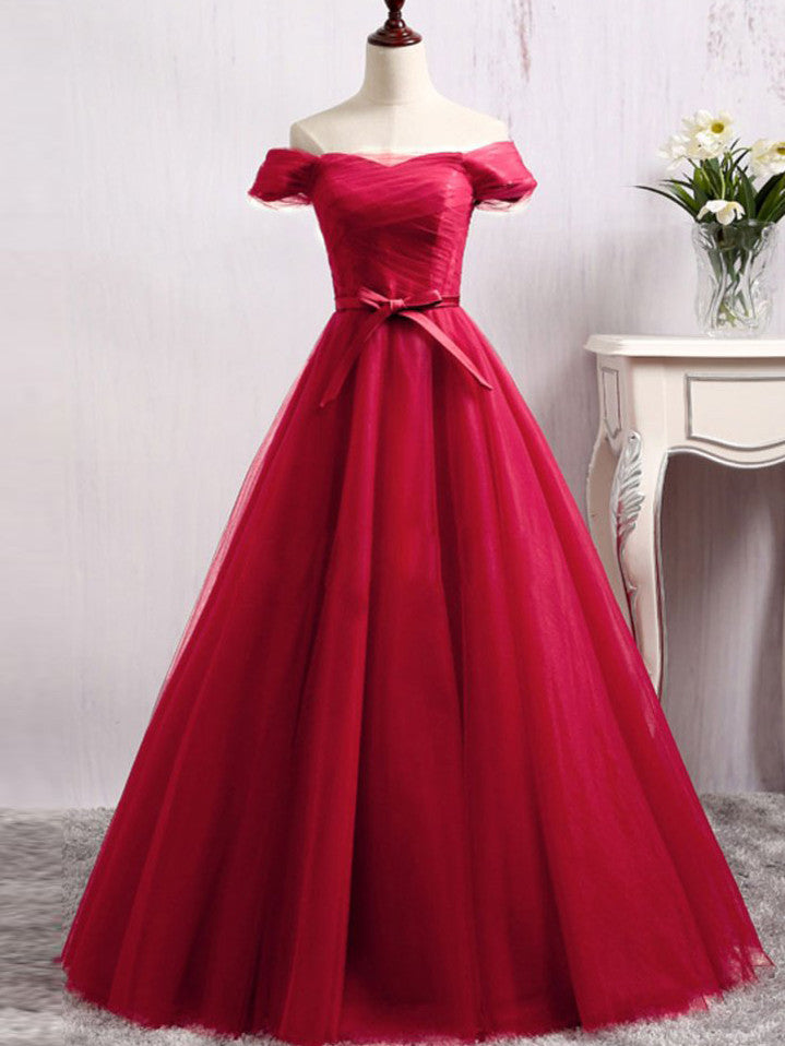 A-line Prom Dress Off-the-shoulder Tulle Long Prom Dresses/Evening Dress SKY173