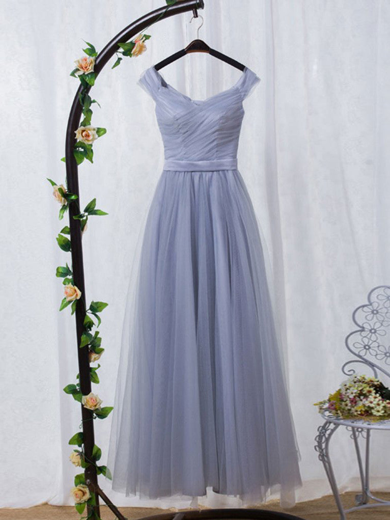 A-line Prom Dress Off-the-shoulder Tulle Long Prom Dresses/Evening Dress SKY175