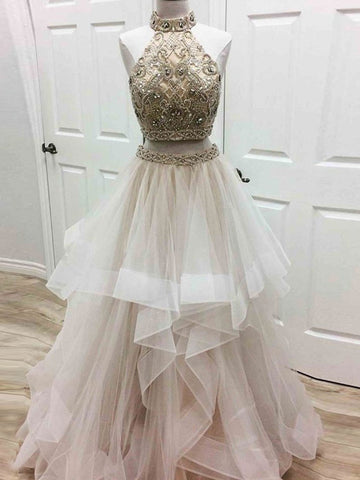 A-line Prom Dress High Neck Tulle Long Prom Dresses/Evening Dress SKY178