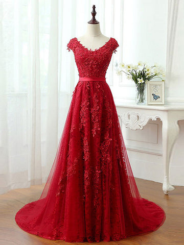 Red A-line V-neck Floor Length Tulle Prom Drsess/Evening Dress SKY184