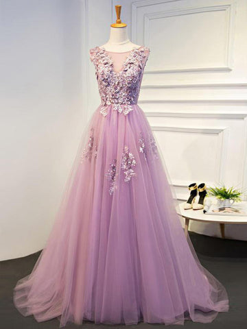 A-line Scoop Floor Length Tulle Prom Drsess/Evening Dress SKY190