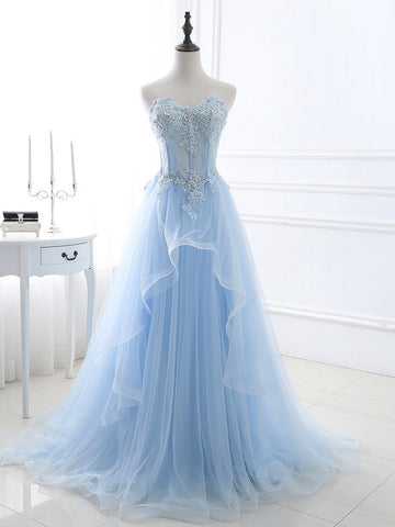 A-line Sweetheart Floor Length Tulle Prom Drsess/Evening Dress SKY194