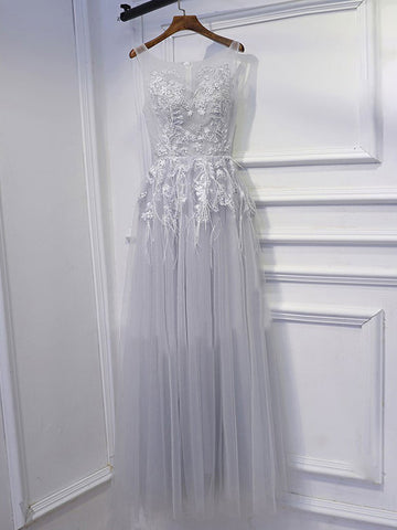 A-line Scoop Floor Length Tulle Prom Drsess/Evening Dress SKY195