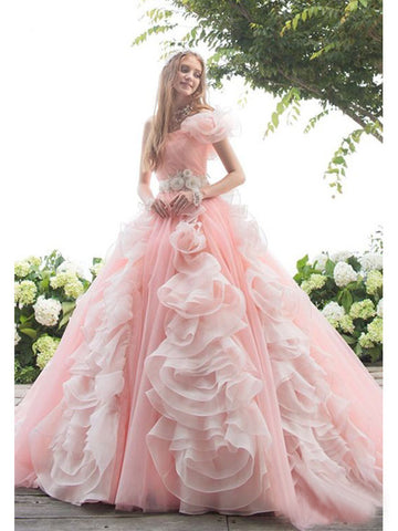 A-line One Shoulder Floor Length Organza Prom Drsess/Evening Dress SKY222