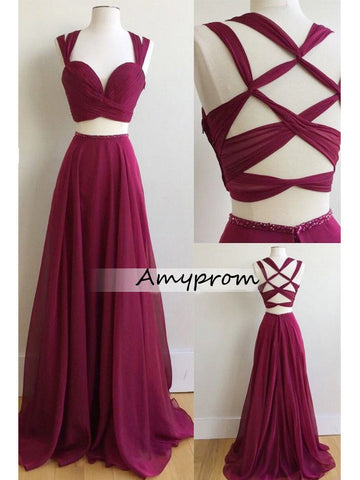 A-line Floor Length Chiffon Grape Prom Drsess/Evening Dress SKY227