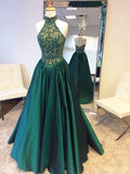 A-line Floor Length Halter Green Prom Drsess/Evening Dress SKY230