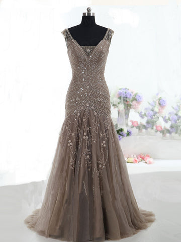 Trumpet/Mermaid Tulle Straps Beading Prom Drsess/Evening Dress SKY232
