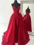 A-line Sweetheart Satin Red Prom Drsess/Evening Dress SKY236