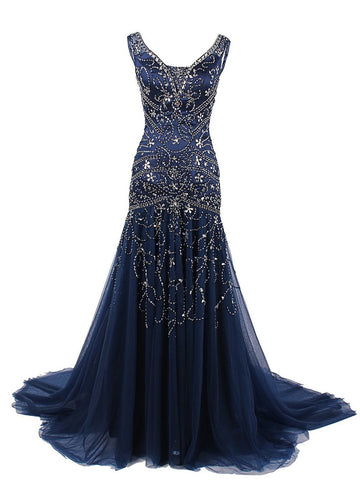 Sheath/Column Scoop Tulle Dark Navy Prom Drsess/Evening Dress SKY237