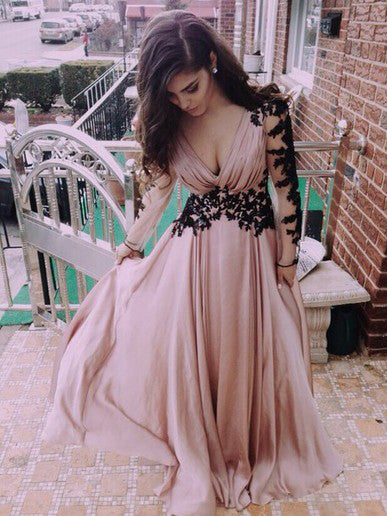 A-line Chiffon V-neck Pink Prom Drsess/Evening Dress SKY239