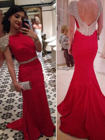 Trumpet/Mermaid Satin Bateau Red Prom Drsess/Evening Dress SKY240