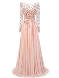 A-line Chiffon Bateau Long Sleeve Prom Drsess/Evening Dress SKY242