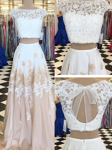 Two Pieces A-line Chiffon Bateau Prom Drsess/Evening Dress SKY243