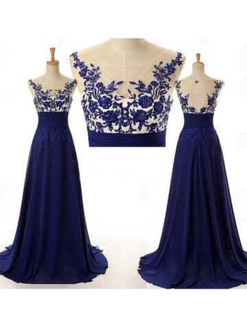 A-line Scoop Prom Dress Chiffon Prom Dresses/Evening Dress SKY269