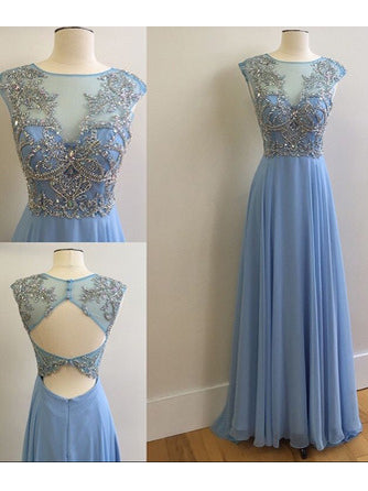 A-line Scoop Prom Dress Chiffon Prom Dresses/Evening Dress SKY271