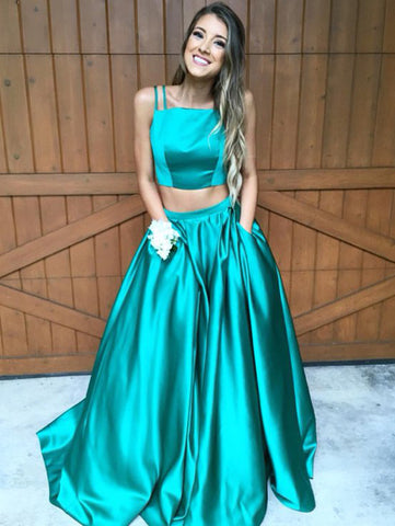 A-line Spaghetti Straps Prom Dress Elastic Woven Satin Prom Dresses/Evening Dress SKY272