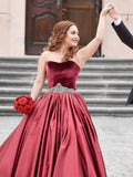A-line Sweetheart Elastic Woven Satin Wedding Dress Ball Gown Dresses SKY279