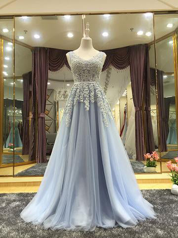 A-line Scoop Appliques Prom Dress Tulle Prom Dresses/Evening Dress SKY281