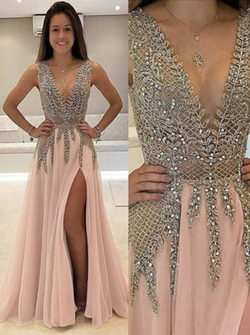 A-line Scoop Appliques Prom Dress Tulle Prom Dresses/Evening Dress SKY282