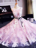 A-line Scoop Tulle Short Prom Dress Juniors Homecoming Dresses SKY295
