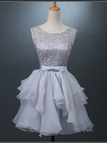 A-line Scoop Organza Short Prom Dress Juniors Homecoming Dresses SKY299