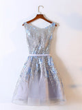 A-line Scoop Tulle Short Prom Dress Juniors Homecoming Dresses SKY308