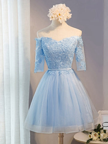 A-line Homecoming Dress Off-the-shoulder Juniors Homecoming Dresses SKY314