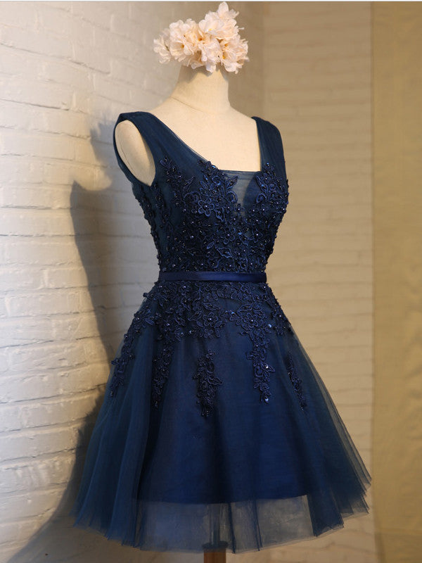 A-line Straps Tulle Short Prom Dress Juniors Homecoming Dresses SKY318