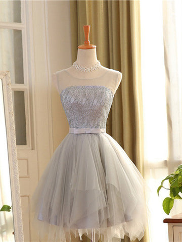 A-line Scoop Tulle Short Prom Dress Juniors Homecoming Dresses SKY325