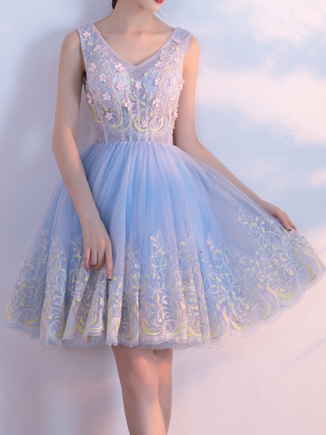 2017 A-line V-neck Short Prom Drsess Homecoming Dresses SKY329