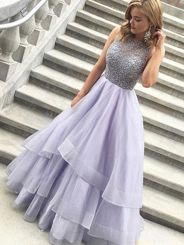 A-line Scoop Rhinestone Prom Dress Tulle Prom Dresses/Evening Dress SKY329